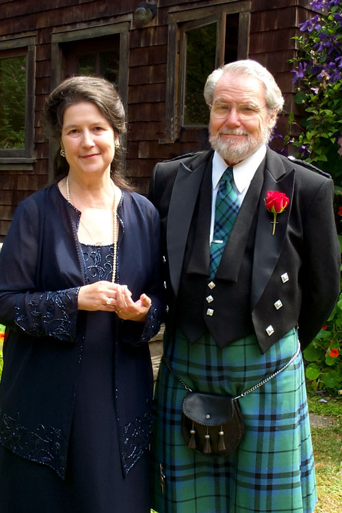 Loretta and William Marshall together in a garden